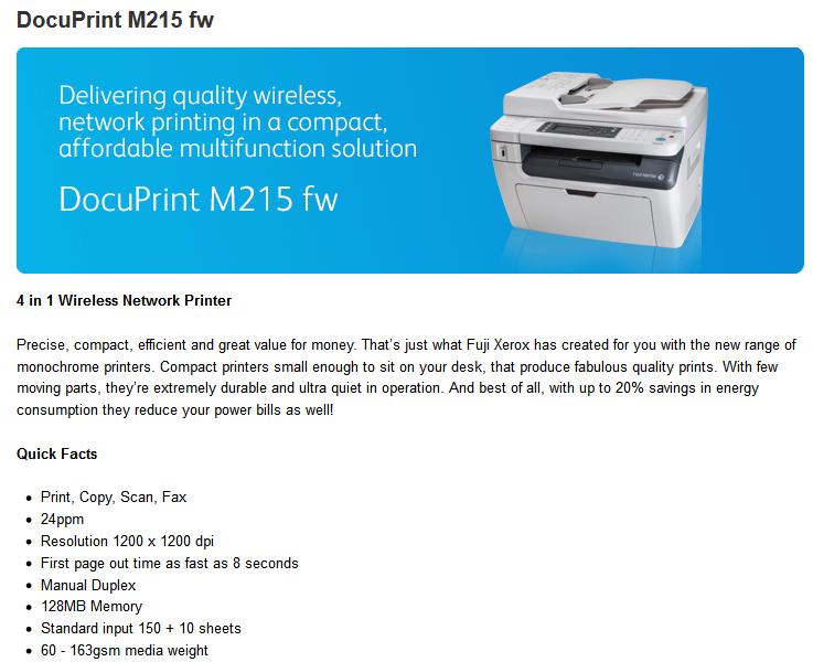 Review : Fuji Xerox Docuprint M215fw