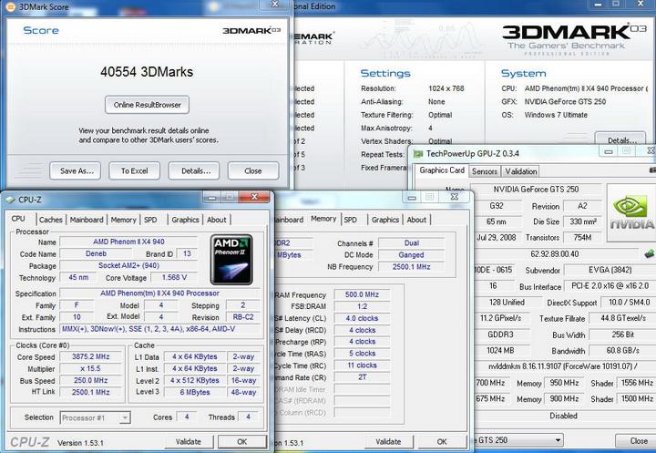 0321 EVGA GTS250 1GB DDR3