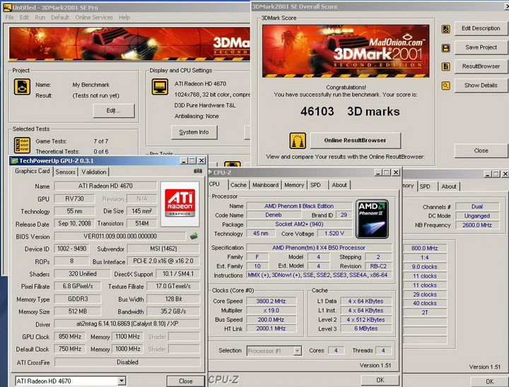 2001r1 Phenom II X2 550BE VS Asrock M3A790GXH/128M 4 Core Test..