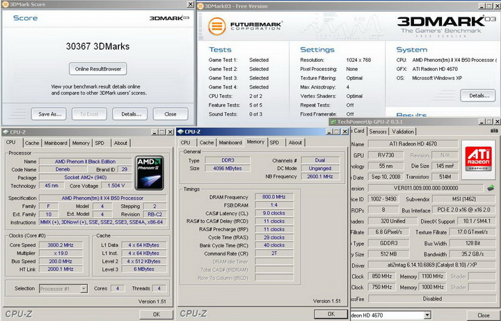 2003r Phenom II X2 550BE VS Asrock M3A790GXH/128M 4 Core Test..