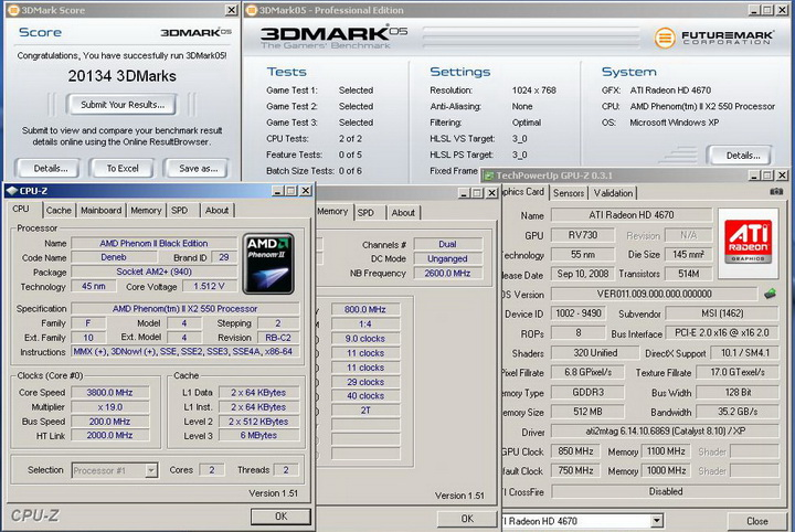 2005r Phenom II X2 550BE VS Asrock M3A790GXH/128M 4 Core Test..