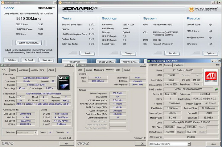 2006r Phenom II X2 550BE VS Asrock M3A790GXH/128M 4 Core Test..