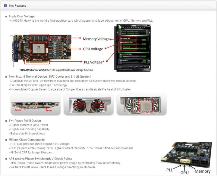 features MSI N460GTX HAWK  Review