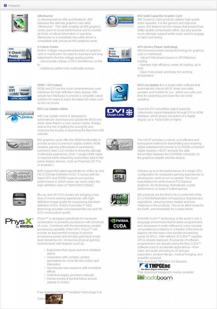spec1 MSI N460GTX HAWK  Review
