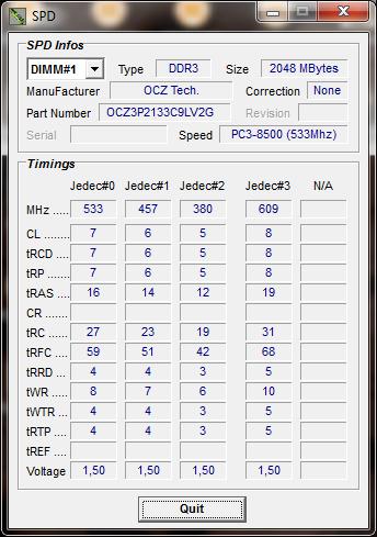 info cpu tweaker Memory OCZ PC3 17000 Platinum Series : Review