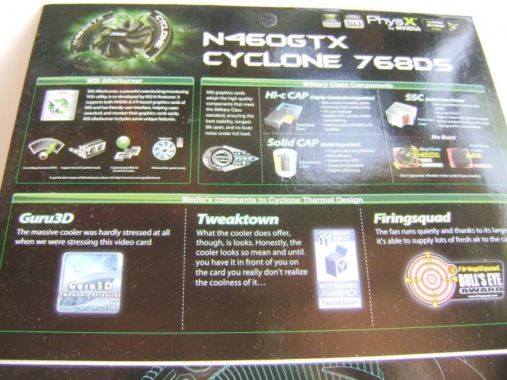 dsc04792 720x540 msi N460GTX Cyclone 768D5 OC EDITION