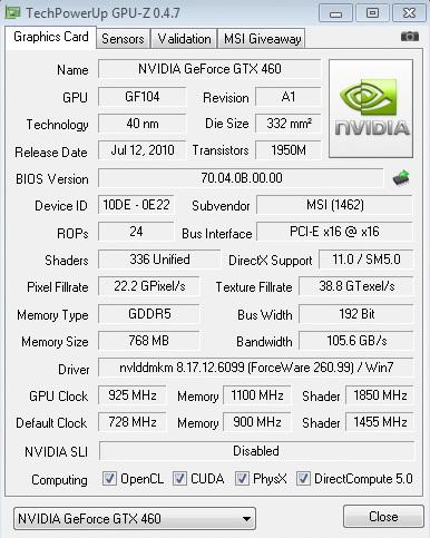 gpuz 925 4400 1850 msi N460GTX Cyclone 768D5 OC EDITION