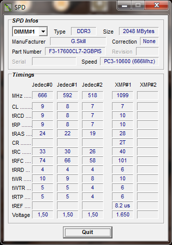 info cpu tweaker Memory G.Skill F3 17600 CL7D 4GBPIS : Review