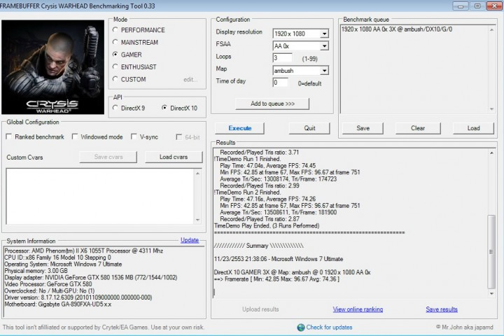 crysis2 default 720x480 GALAXY GF GTX580 1536MB DDR5 Review