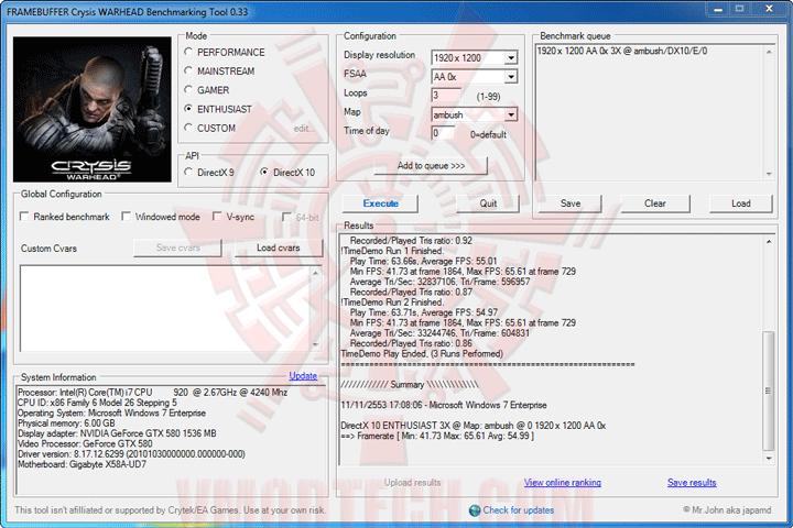 wh ov GIGABYTE NVIDIA GeForce GTX 580 1536MB GDDR5 Review