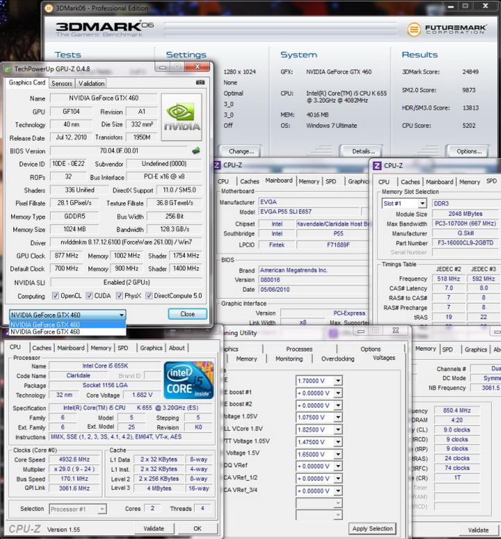3dmark06 Intel Core i5 655K Processors