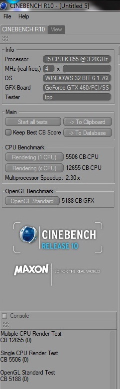 cinebench r10crop Intel Core i5 655K Processors
