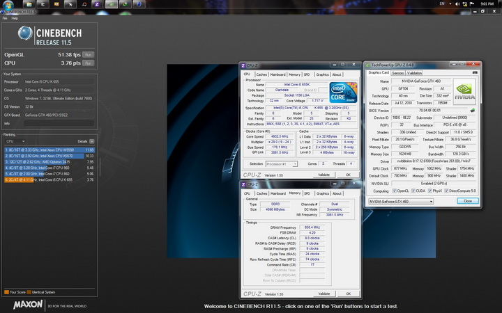 cinebench r11 cpu resize Intel Core i5 655K Processors