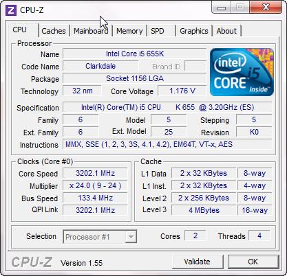 cpuz1 Intel Core i5 655K Processors