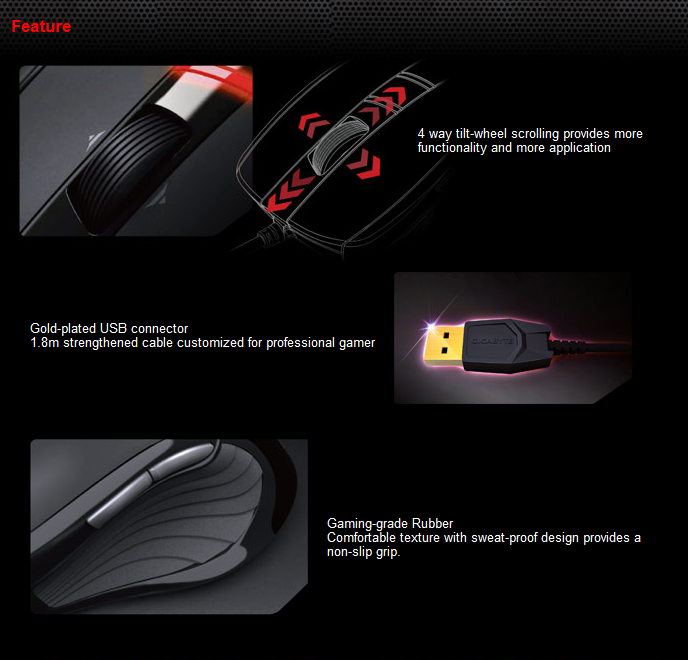 feature3 Gigabyte M6900 Optical Gaming Mouse
