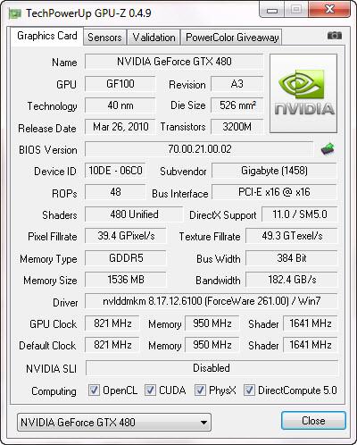 gpuz Gigabyte GTX480 Super Overclock Edition
