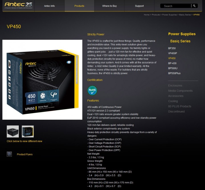 spec antec vp450 720x667 Antec VP450 Basiq Power [450w] : Review