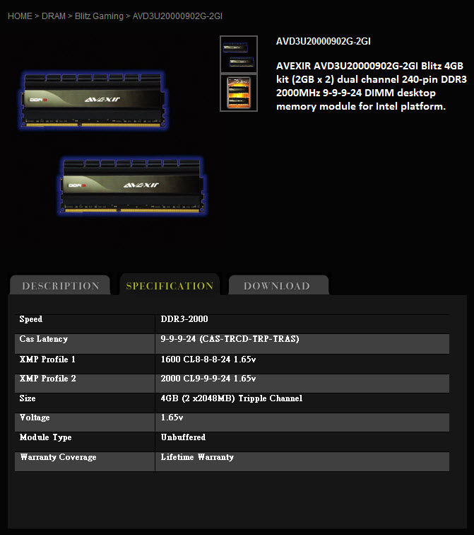 spec1 AVEXIR Blitz Gaming Series DDR3 2,000 MHz