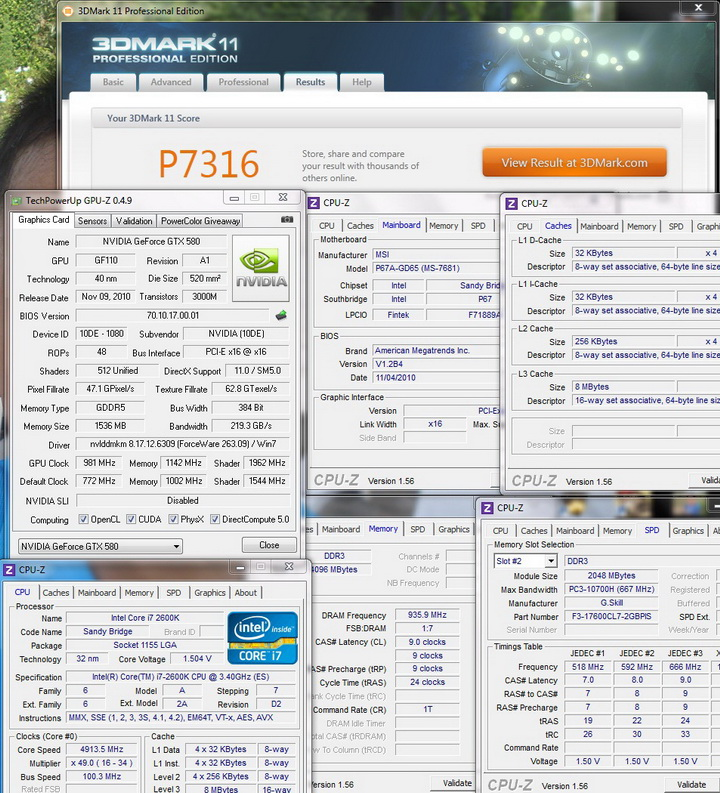 11 Sandy Bridge Core i7 2600K on MSI P67A GD65