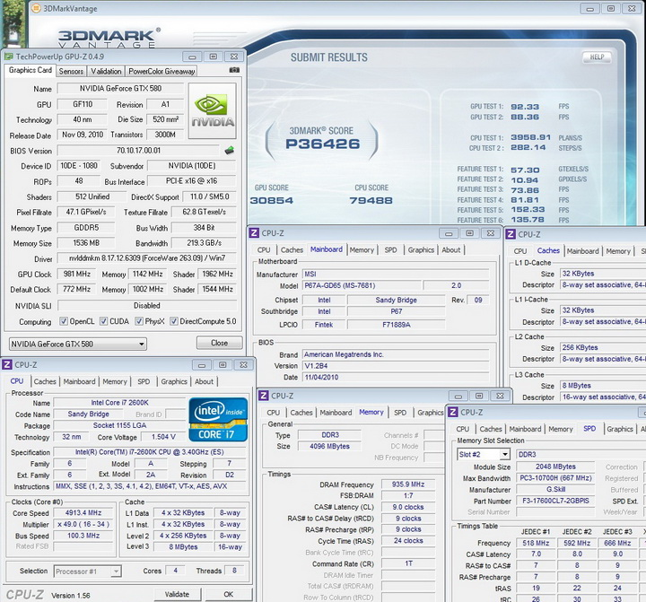 vantage Sandy Bridge Core i7 2600K on MSI P67A GD65