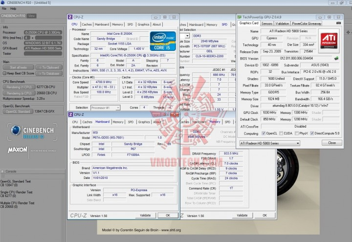 cinebench 10 720x495 INTEL Core i5 2500k on msi P67A GD55