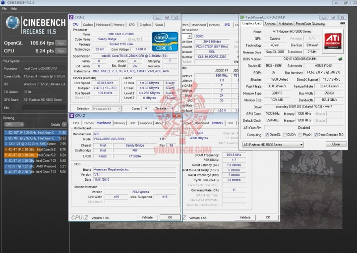 cinebench 11 720x511 INTEL Core i5 2500k on msi P67A GD55
