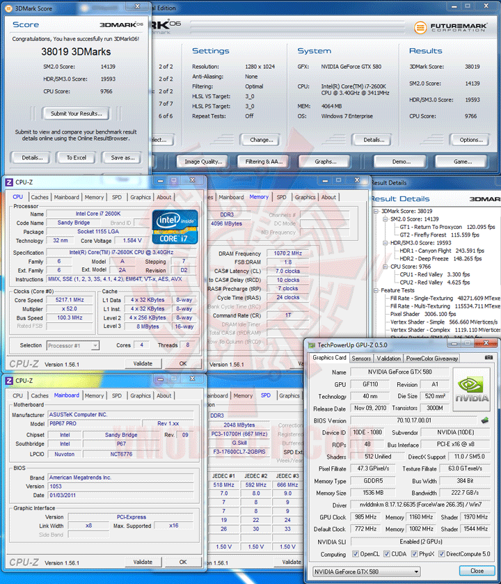3d06 Core i7 2600K @ 5,217MHz Rock Stable with ASUS P8P67 PRO