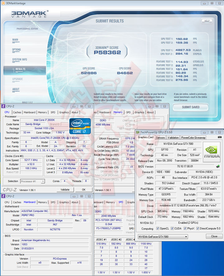 3d07p Core i7 2600K @ 5,217MHz Rock Stable with ASUS P8P67 PRO