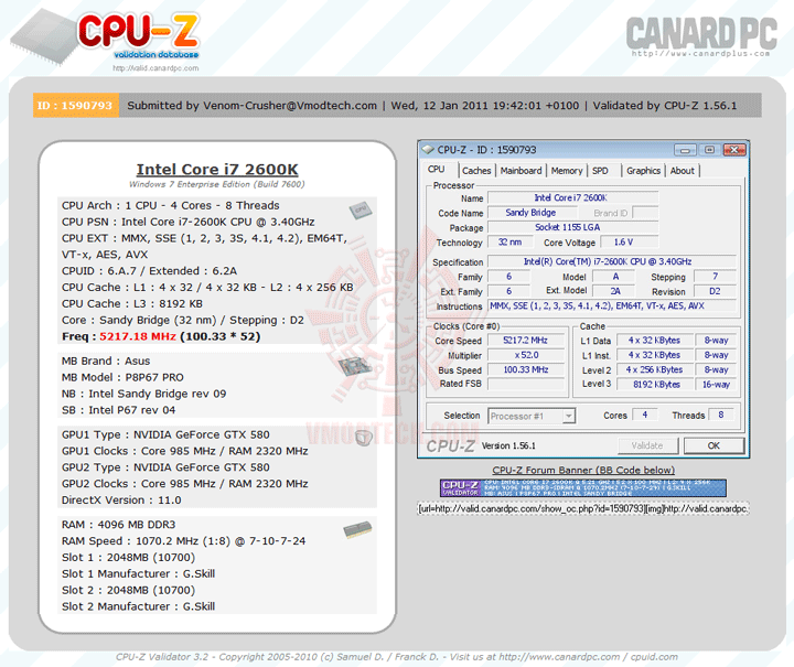 5217 Core i7 2600K @ 5,217MHz Rock Stable with ASUS P8P67 PRO