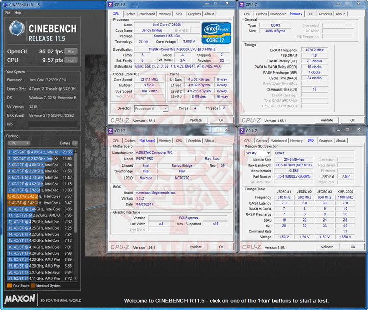 c11 Core i7 2600K @ 5,217MHz Rock Stable with ASUS P8P67 PRO