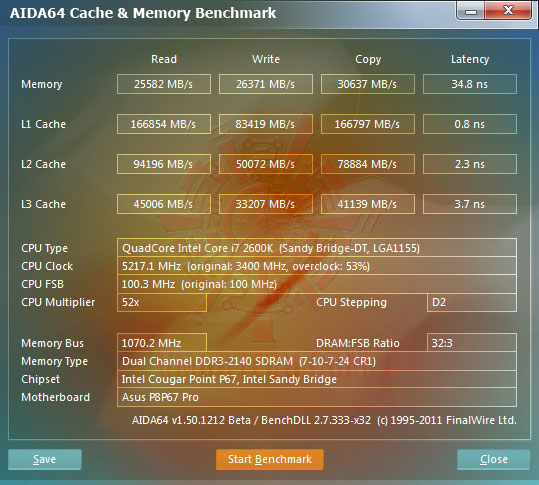 e1 Core i7 2600K @ 5,217MHz Rock Stable with ASUS P8P67 PRO