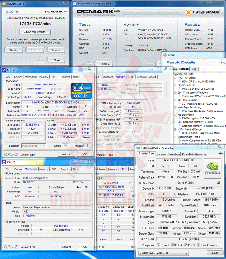 pcmark05 Core i7 2600K @ 5,217MHz Rock Stable with ASUS P8P67 PRO