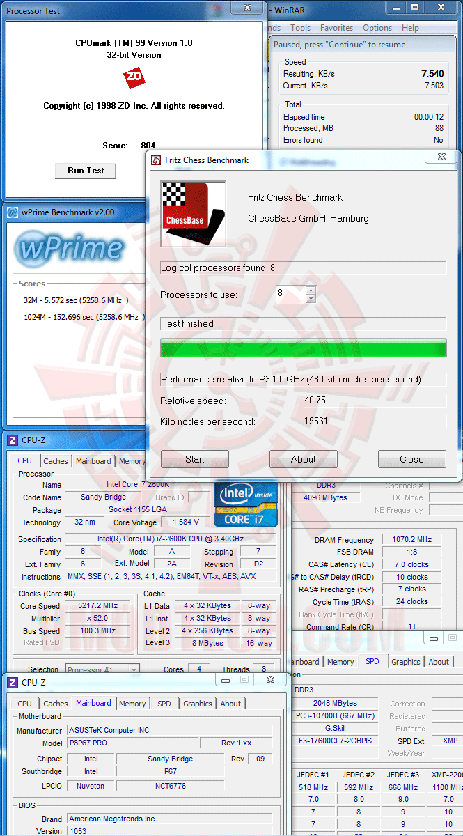 v1 Core i7 2600K @ 5,217MHz Rock Stable with ASUS P8P67 PRO