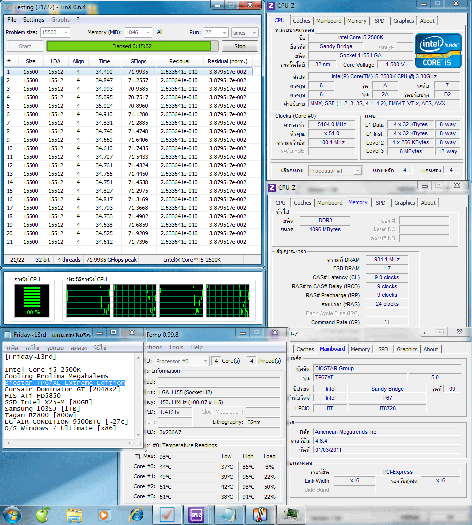 51x100 145v pll1912v ddr3 934clbyspdlinxall 130 130 Biostar TP67XE Extreme Edition : Review