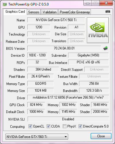 cpuz Gigabyte Nvidia GTX 560 Ti SUPEROVERCLOCK The New Generation of Nvidia