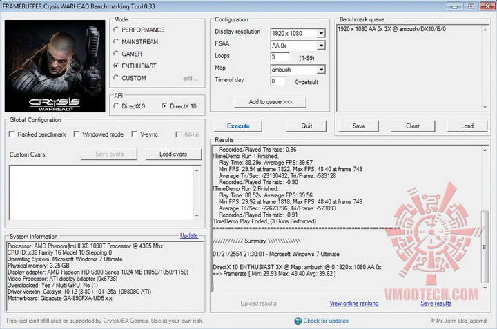 crysis2 1050 1150 ASUS Radeon HD6870 1GB DDR5 Review