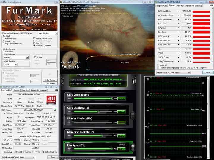 furmark 1050 1150 ASUS Radeon HD6870 1GB DDR5 Review