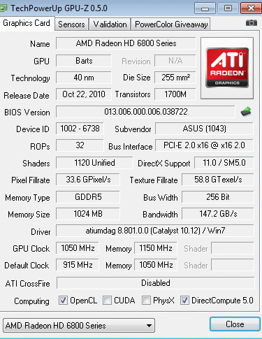 gpuz 1050 1150 ASUS Radeon HD6870 1GB DDR5 Review