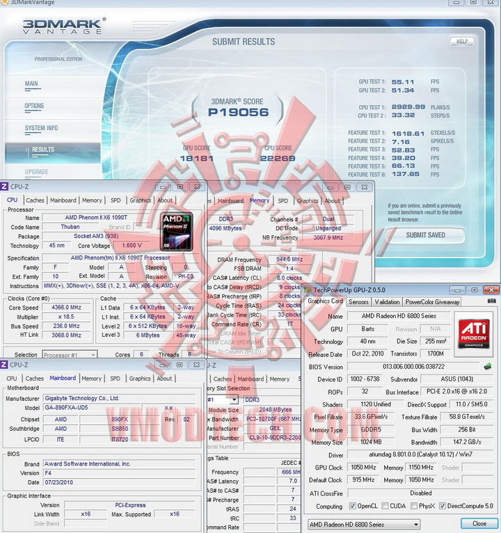 vantage 1050 1150 ASUS Radeon HD6870 1GB DDR5 Review