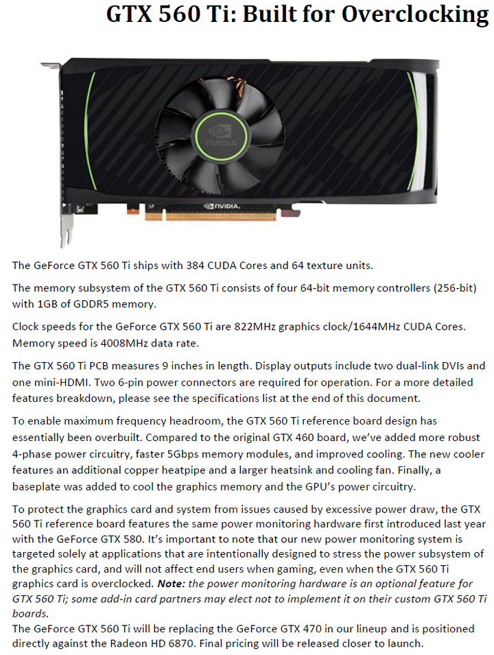 3 NVIDIA GeForce GTX 560 Ti 1GB GDDR5 Debut Review