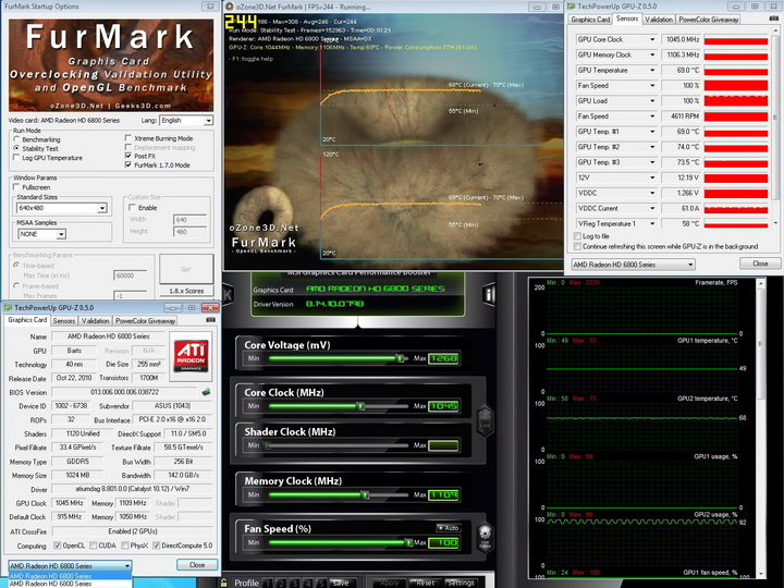 furmark 1045 1109 AMD Radeon HD6870 Crossfire X Review
