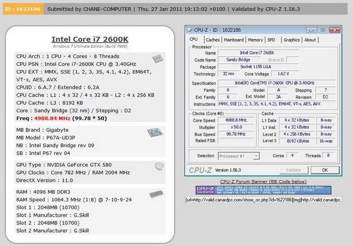 cpuz validate GIGABYTE P67A UD3P Motherboard Review