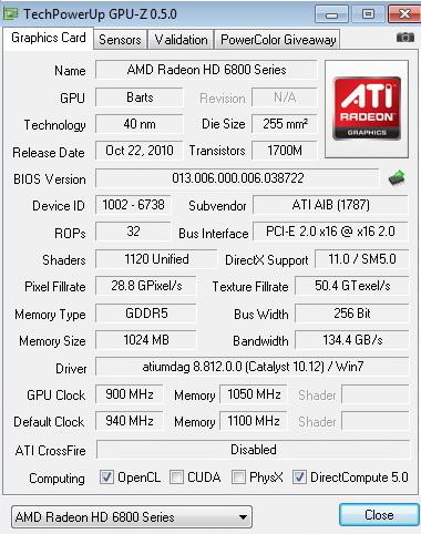 gpuz 900 1050 PowerColor Radeon HD6870 PCS+ 1GB DDR5 Review