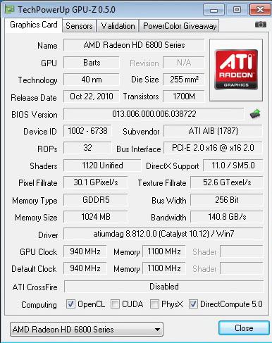 gpuz 940 1100 PowerColor Radeon HD6870 PCS+ 1GB DDR5 Review