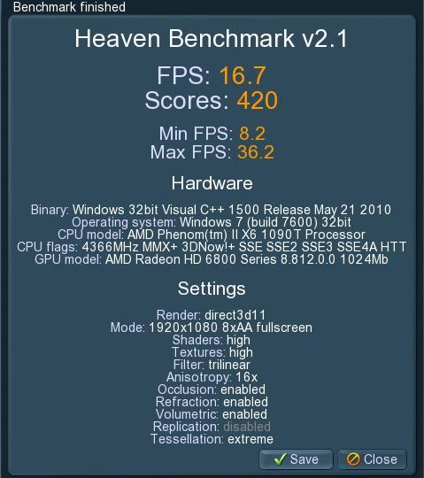 unigine 2011 01 31 21 11 29 07 PowerColor Radeon HD6870 PCS+ 1GB DDR5 Review