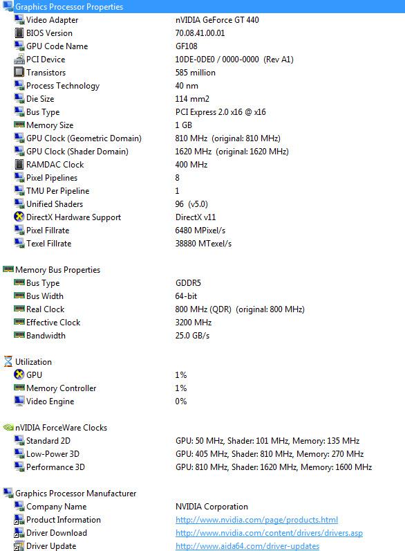aida spec Palit GeForce GT 440 1024MB GDDR5