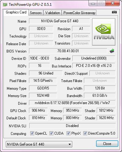 cpuz oc Palit GeForce GT 440 1024MB GDDR5