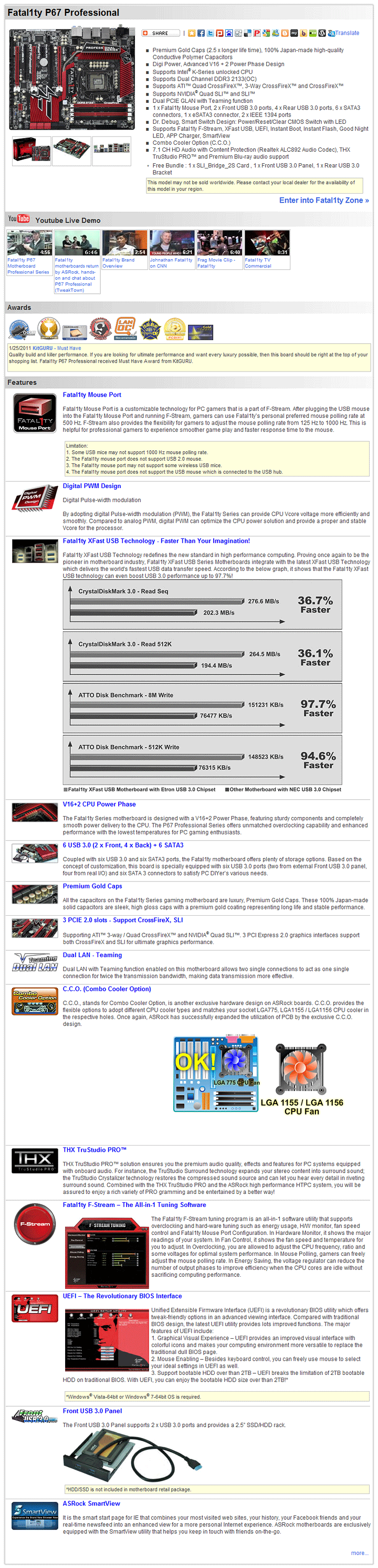 spec ASRock Fatal1ty P67 Professional Motherboard Review