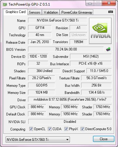 cpuz default MSI N560GTX Ti Twin Frozr II