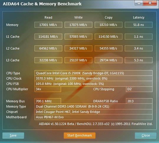 105x34 aida64 cachememory Asus P8H67 M EVO : Review